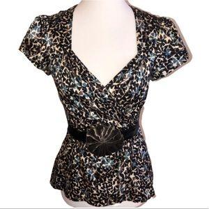 Nanette Lepore Tops - Nanette Lepore Silk Wrap Top with Velvet Belt Sz 4